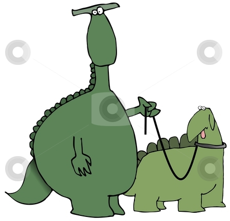 Walking The Dinosaur stock photo, This illustration depicts a dinosaur walking another reptile on a leash. by Dennis Cox