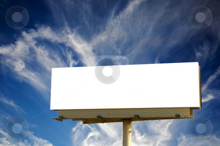 Empty Billboard and blue cloudscape stock photo, Brand new billboard and a wispy blue sky by Mitch Aunger