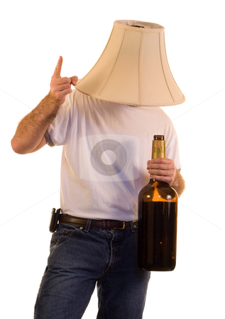 Party Man stock photo, A man partying with a giant bottle by Richard Nelson