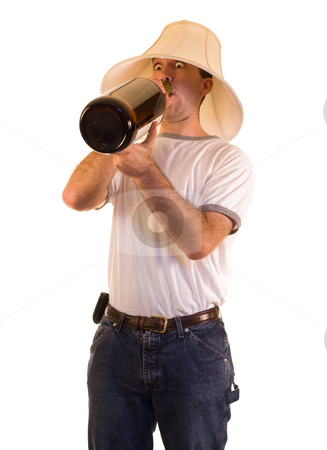 Binge Drinking stock photo, A drunk man drinking from a giant bottle by Richard Nelson