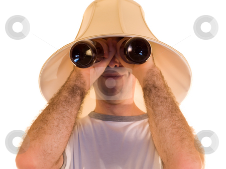 Beer Goggles stock photo, A man wearing beer goggles, isolated against a white background by Richard Nelson