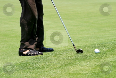 Golf Feet stock photo, Golfer on green grass aiming for the ball. by Henrik Lehnerer