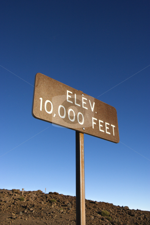 Elevation sign in Haleakala, Maui. stock photo, Elevation sign in Haleakala National Park in Maui, Hawaii. by Iofoto Images