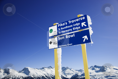 Ski resort trail signs. stock photo, Ski resort trail signs. by Iofoto Images