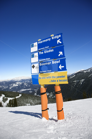 Ski resort trail direction signs. stock photo, Ski resort trail direction signs. by Iofoto Images
