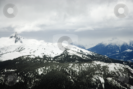 Ski resort mountain with snow. stock photo, Ski resort mountain with snow. by Iofoto Images
