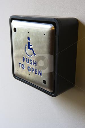 Handicap Push To Open Button L Stock Photo