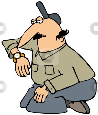 Man Checking His Watch stock photo, This illustration depicts a man kneeling and looking at his wristwatch. by Dennis Cox