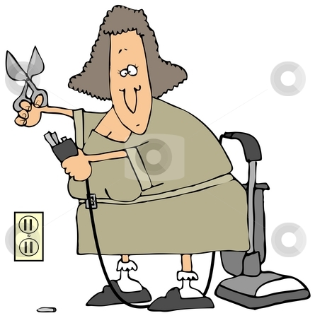 Electrical Safety stock photo, This illustration depicts a woman cutting the grounding prong from her vacuum cleaner to fit in an old plug. by Dennis Cox