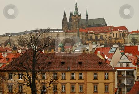 Prague stock photo, View of prague from charles bridge on vltava river by Kobby Dagan