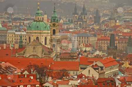 Prague stock photo, View of prague from charles bridge on vltava river by Kobby Dagan
