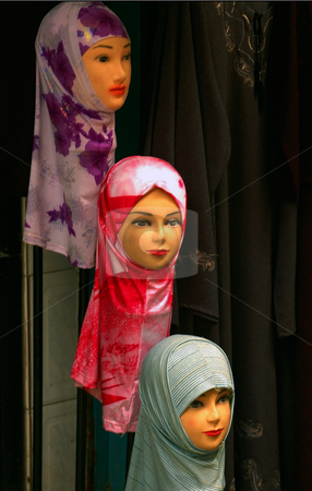 Women Headdress stock photo, Traditional women hesddress in old jerusalem market by Kobby Dagan