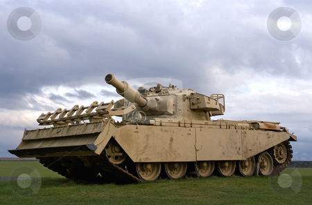 Battle stock photo, A tank against a stormy sky by Paul Phillips