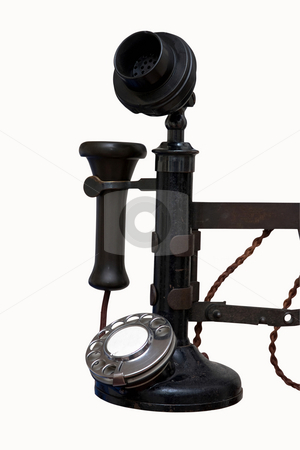 Vintage wall phone-2 stock photo, The handset of a vintage wall phone by Paul Phillips