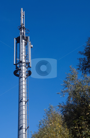 Through the air stock photo, Slim telecommunations mast for mobile communactions by Paul Phillips