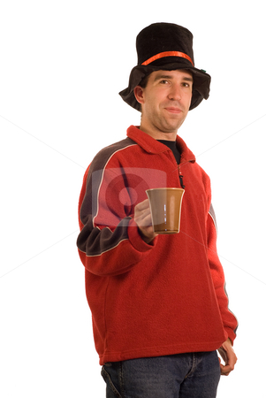 Hot Drink stock photo, A young man isolated against a white background offering a cup of some drink by Richard Nelson