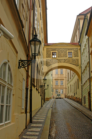 Prague stock photo, Antique streets of prague and antique apartment-houses by Kobby Dagan
