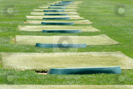 Golf stock photo, Tee off at a driving range with green grass by Henrik Lehnerer
