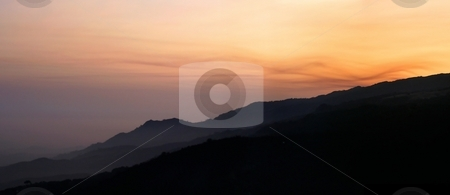 Hillside Sunset stock photo, Beautiful sunset color landscape north of Santa Barbara. by Henrik Lehnerer