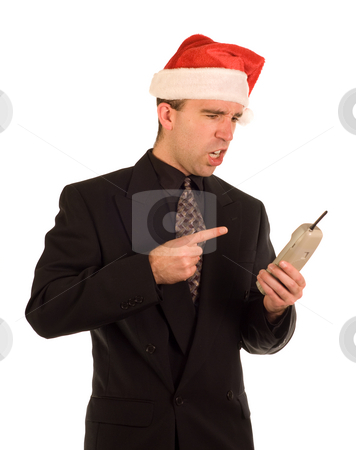 Yelling On The Phone stock photo, A Christmas employee yelling on the phone by Richard Nelson