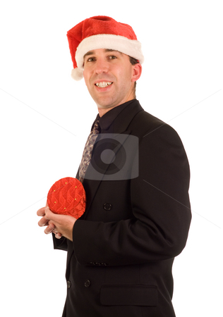 Businessman Present stock photo, A young businessman holding his present from Christmas by Richard Nelson