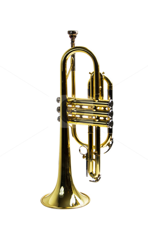 Trumpet resting on its bell beween sets. stock photo, A trumpet isolated against a white background with a clipping path for easy removal. by RCarner Photography
