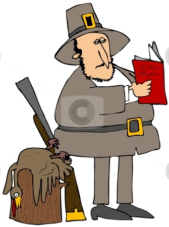 Pilgrim Reading Turkey Recipes stock photo, This illustration depicts a pilgrim reading from a turkey recipe book. by Dennis Cox