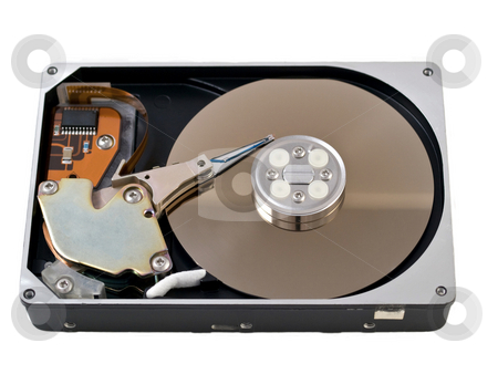Open hard drive disk stock photo, Open hard drive disk isolated on white by Laurent Dambies