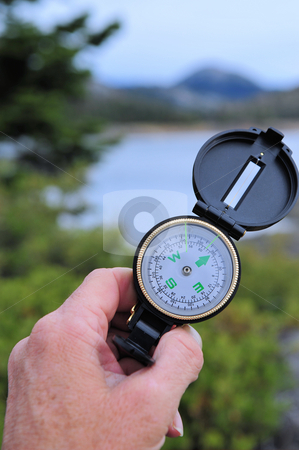Hiking Compass stock photo, Determining location with a compass by Lynn Bendickson