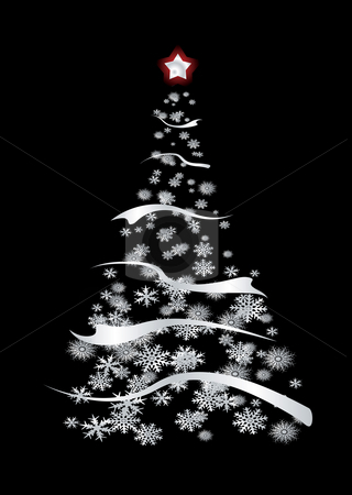 Silver modern xmas stock photo, Modern inspired silver christmas tree with snow flakes and ribbon by Michael Travers