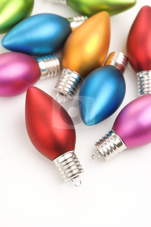 Multicolored Christmas ornaments. stock photo, Still life of multicolored  Christmas ornaments. by Iofoto Images