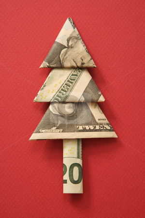 Money origami tree. stock photo