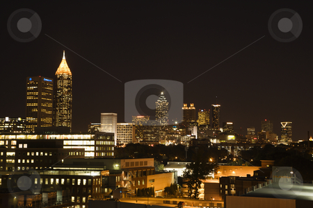 Atlanta night skyline. stock photo, Nightscape of Atlanta, Georgia skyline. by Iofoto Images