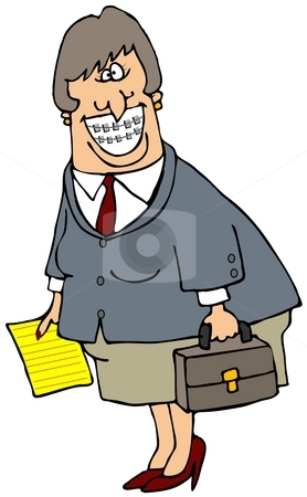 Business Woman With Braces stock photo, This illustration depicts a business woman with braces on her teeth carrying a briefcase. by Dennis Cox