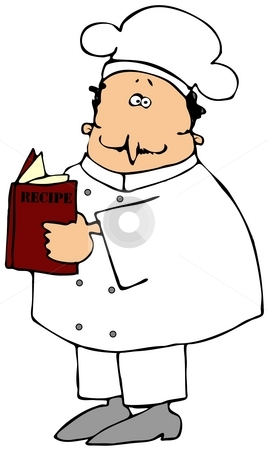 Chef Reading A Recipe Book stock photo, This illustration depicts a chef reading a recipe book. by Dennis Cox