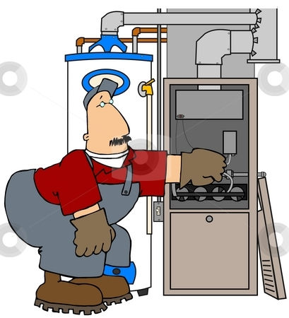 Furnace Man stock photo, This illustration depicts an HVAC technician working on a gas furnace. by Dennis Cox