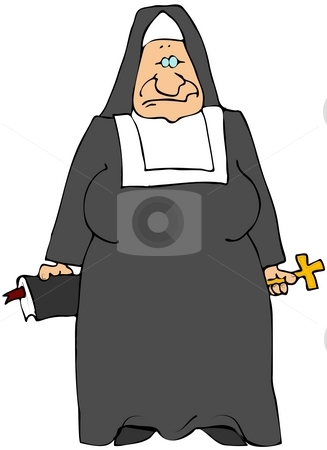 Old Nun stock photo, This illustration depicts an elderly Catholic Nun holding a bible and crucifix. by Dennis Cox