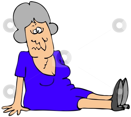 Falling Down stock photo, This illustration depicts an older woman who fell on her butt. by Dennis Cox