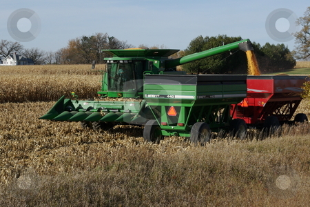 Golden corn harvest stock photo, A farmer transfer's corn from his combine to a waiting wagon during the fall havest in Iowa.  Iowa leads the nation and the world in corn production. by Dennis Thomsen