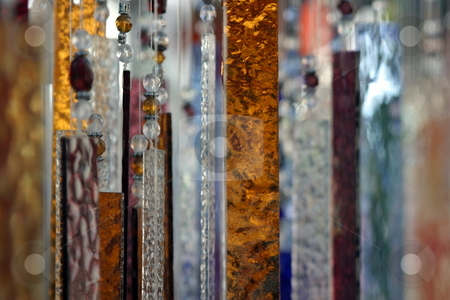 Abstract Glass stock photo, Hanging abstract glass peaces in different colors. by Henrik Lehnerer