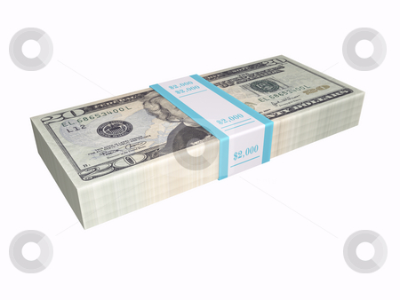 Stacked cash on white background stock photo, 3D stacked cash on a white backgrond by John Teeter