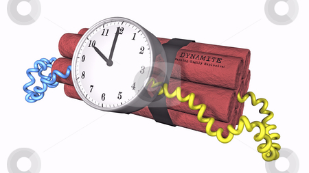 Ticking Time bomb on white stock photo, 3D illustration of a time bomb on white background by John Teeter