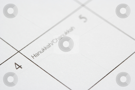 Hanukkah. stock photo, Close up of calendar displaying Hanukkah Chanukah. by Iofoto Images