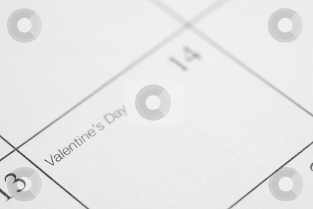 Valentines Day. stock photo, Close up of calendar displaying Valentines Day. by Iofoto Images
