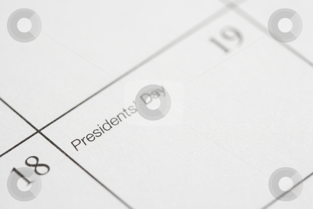 Presidents Day. stock photo, Close up of calendar displaying Presidents Day. by Iofoto Images