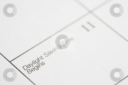 Daylight Saving Time. stock photo, Close up of calendar displaying Daylight Savings Time. by Iofoto Images