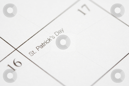 Saint Patricks Day. stock photo, Close up of calendar displaying Saint Patricks Day. by Iofoto Images