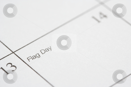 Flag Day. stock photo, Close up of calendar displaying Flag Day. by Iofoto Images