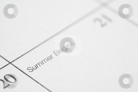 Summer Begins. stock photo, Close up of calendar displaying the beginning of summer. by Iofoto Images