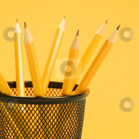 Pencils in holder. stock photo, Group of pencils in pencil holder. by Iofoto Images